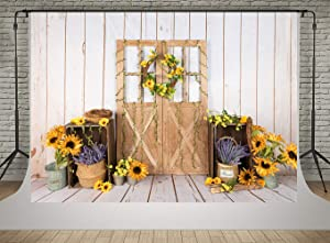 Kate White Wood Wall Nature Sunflowers Photography Backdrops 7x5ft Wooden Door Autumn Decoration Photo Backgrounds Kids Baby Shower Photoshoot
