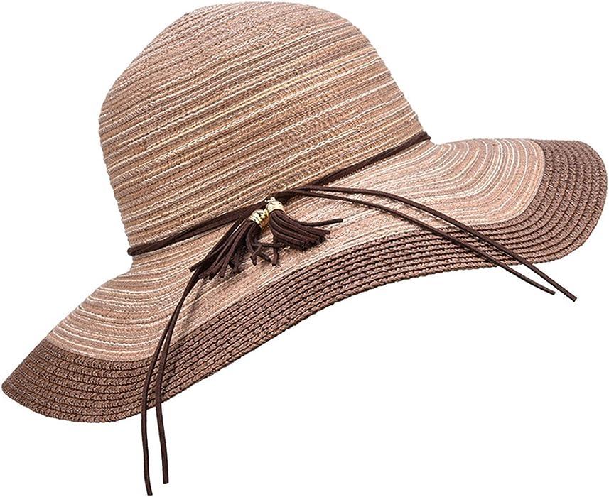 c2d8840402d7a Amazon.com: Women's Beach Sun Hats Summer Oversized Brim Straw Weaver  Sunscreen Elegant Striped Sun hat,07,China,One Size: Clothing