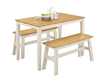 Greenheartfurniture UK And Ireland Kitchen Bench Set Oak White