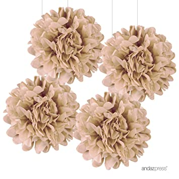 Amazon andaz press large tissue paper pom poms hanging andaz press large tissue paper pom poms hanging decorations kraft brown 14 inch mightylinksfo