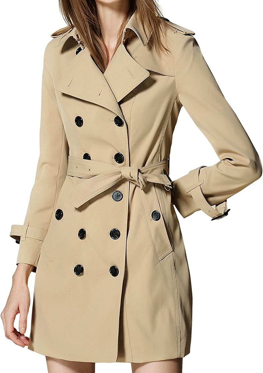 Women's Double breasted Trench Coat Belted Wind Coats