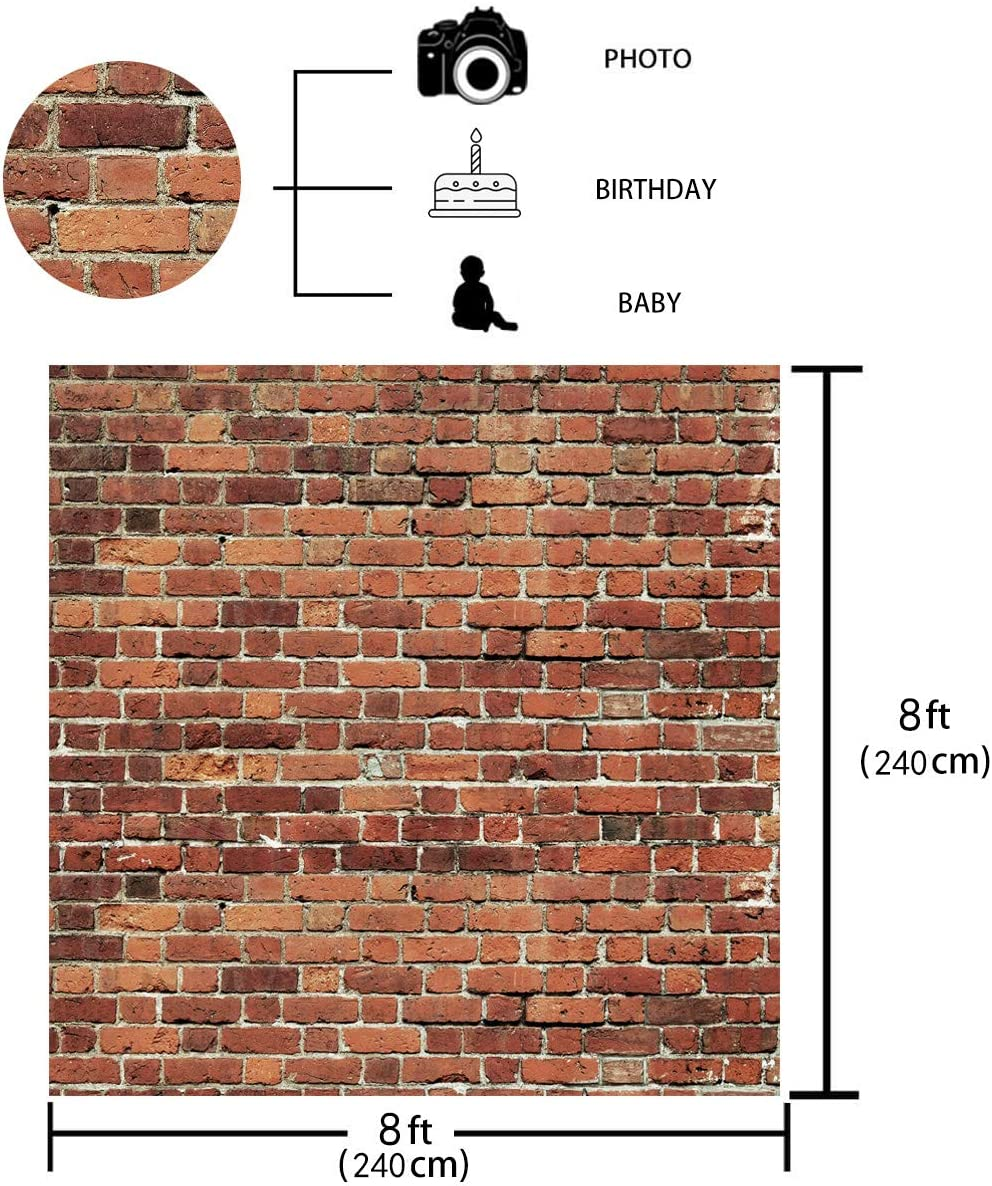 7x5 FT Red Brick Wall Fabric Photography Backdrop Thin Photo Backdrops Background Baby Birthday Party Wedding Graduation Home Decoration Photo Booth Studio Prop Banner 11-506