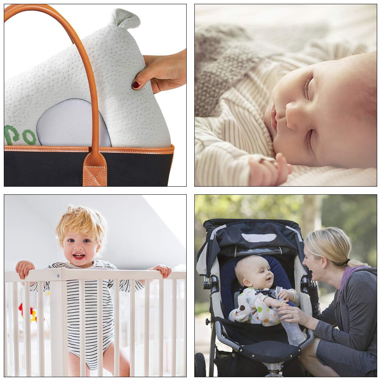 Windsleep Almohada de l/átex natural para beb/é con forma de cabeza de beb/é soporte de almohada de cabeza plana algod/ón suave para reci/én nacido