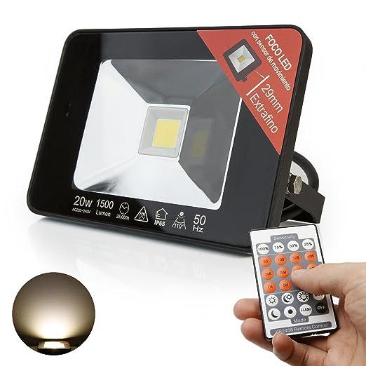 Extrastar Ultraslim LED Foco de luz exterior con detector de movimiento IP65, foco de exteriores