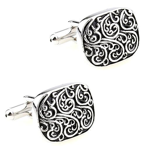 CIFIDET Gemelos Mancuernas antiguas del esmalte del metal de plata Forme a hombres la joyería de la camisa con la caja de regalo: Amazon.es: Joyería