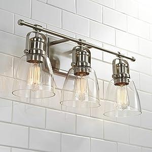 Kalen Modern Farmhouse Wall Mounted Vanity Light Brushed Nickel Silver Hardwired 23 1/2