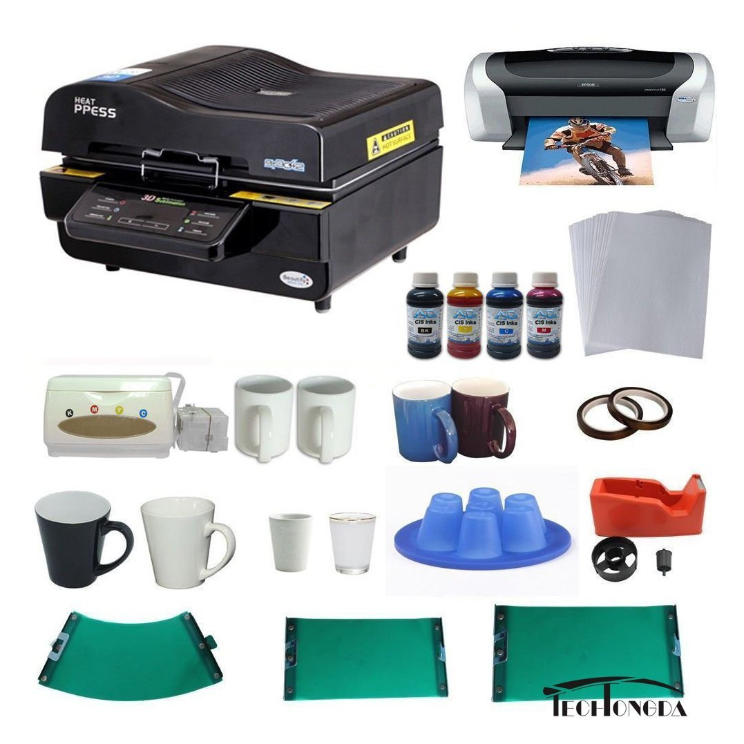 3d Sublimation Vacuum Machine Mug Printer Ciss Paper Business Bundle by Techtongda Sublimation Packages