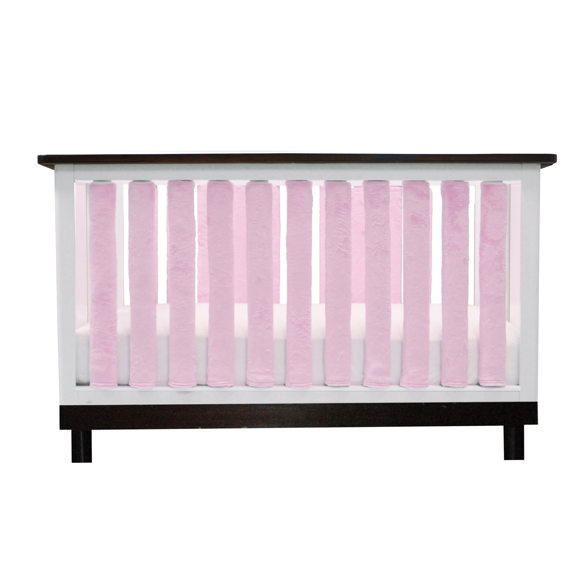 Pure Safety Vertical Crib Liners in Luxurious Pink Minky 38 Pack by Go Mama Go