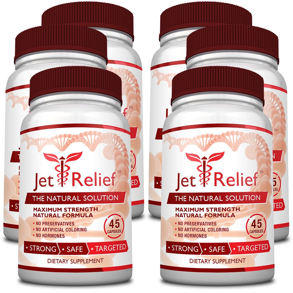 JetRelief - The #1 Choice for Jet Lag Relief - 100% Pure & Natural with NO MELATONIN- Helps Regulate Circadian Rhythm - With DMAE, Vitamin B and Magnesium - 100% Money Back - 6 Bottles Supply