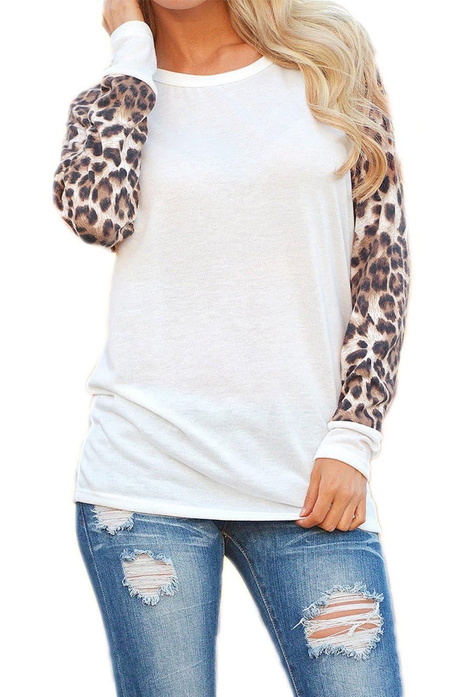 Women Fall Casual Long Sleeve Leopard Print T-Shirt Top Tee Plus Size CAFZ1276