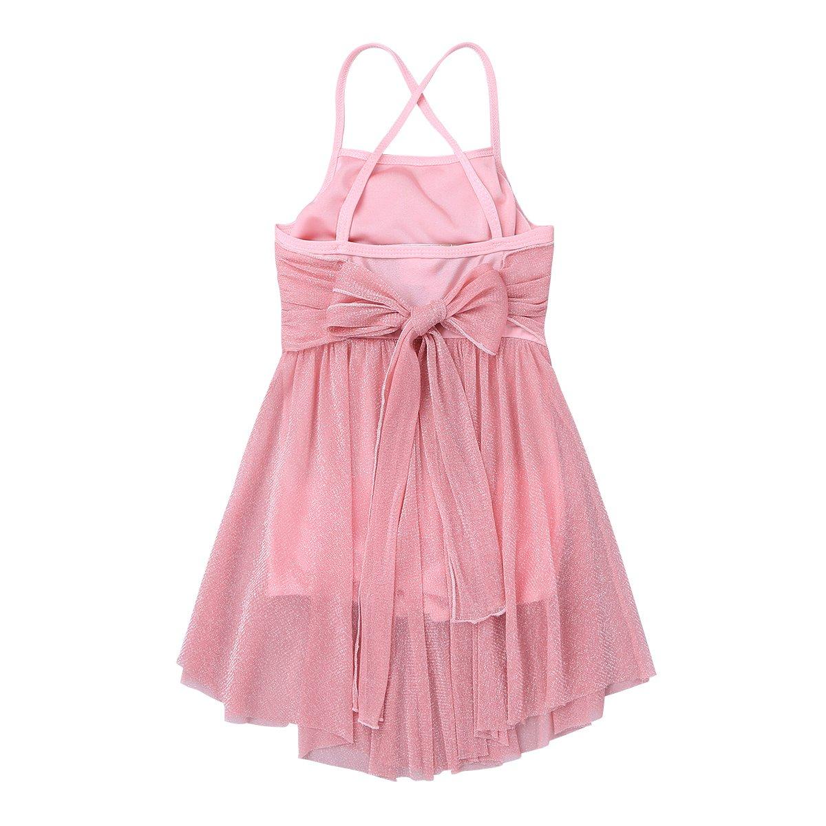 dPois Kids Girls Criss Cross Spaghetti Straps Ballet Latin Lyrical Contemporary Dance Glittery Dress