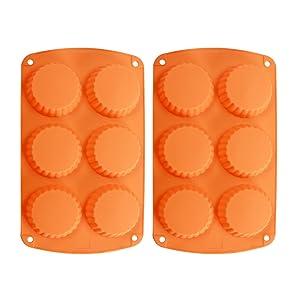 Webake 2-Pack Silicone Tart Pan Mold Quiche Pan 6-Cavity Tartlet Pan (Tart pan)