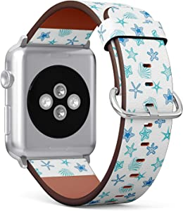 Compatible with Apple Watch (Big 42mm/44mm) Series 1,2,3,4 - Leather Band Bracelet Strap Wristband Replacement - Starfishes Seashells Marine