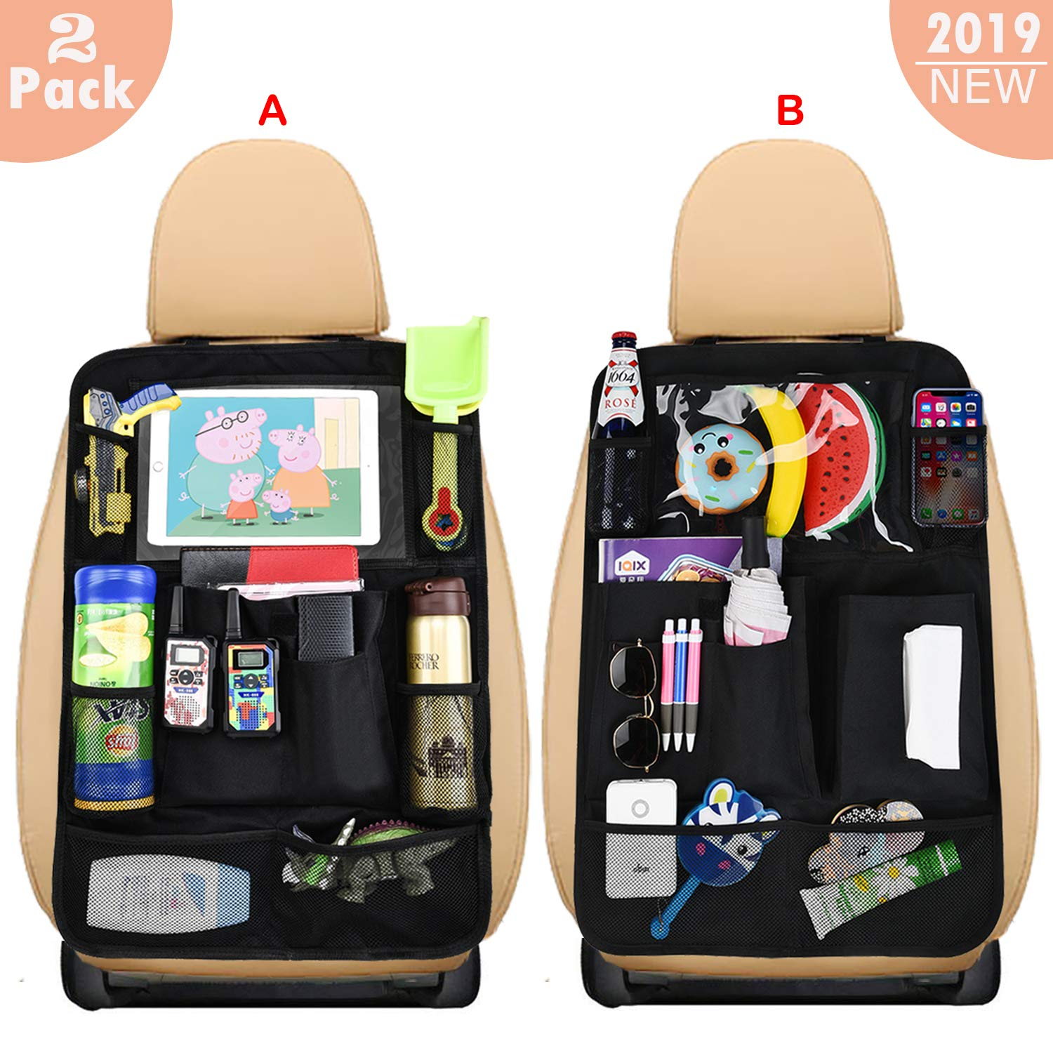 Car Seat Back Organizers | with 10'' Touch Screen Tablet Holder + 19 Storage Pockets |Back seat car Organizer for Kids Toy Universal Car Travel Accessories (A+B Style) by HmiL-U