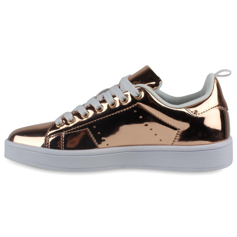 Stiefelparadies Low Unisex Damen Herren Sneaker Low Stiefelparadies Übergrößen Flandell Bronze Lack eab66f