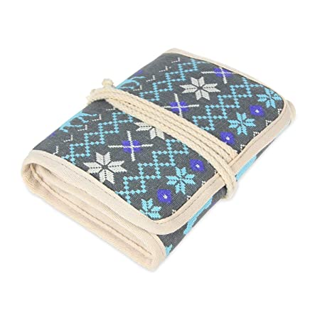 Damero Rolled Canvas Crochet Hooks Case Travel Craft Case For