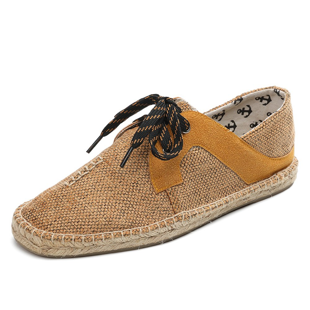 ESPARTISAN Men Hemp Lace up Fisherman Shoes Breathable Espadrilles Flats