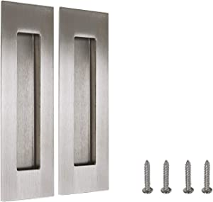 2 Pieces Rectangle Recessed Barn Door Handle Stainless Steel Flush Door Sliding Door Pulls Free of Sharp Angle (Brushed Nickel)