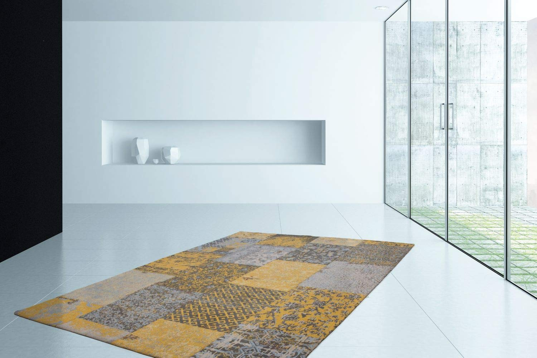 One Couture TEPPICHE FLACHFLOR Retro Patchwork Look Jacquard Muster Kasten Design Gold Sale, Größe 120cm x 170cm