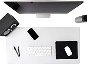 Awnour Clear Desk Pad Blotter on Top of Desks - 36 x 20 inches - Non Slip Desk Writing Mat for Office and Home - Round Edges - Textured - Mouse Pad Included. (36 x 20)