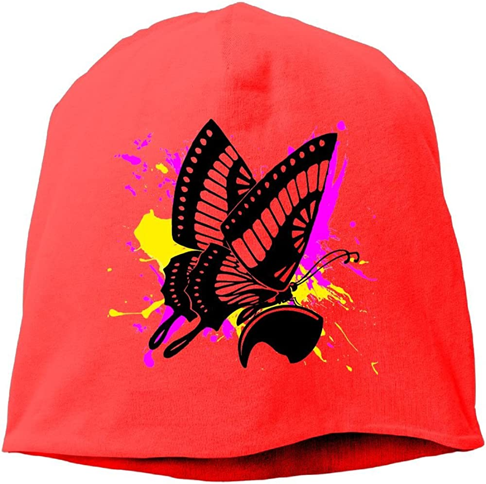 Fashion Solid Color Art Butterfly Paint Beanie Cap for Unisex Red One Size