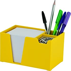 Acrimet Desktop Organizer Pencil Paper Clip Caddy Holder (Plastic) (with Paper) (Solid Yellow Color)