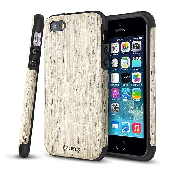 wholesale dealer 3fcc2 c8638 iPhone SE Case, iPhone 5S Case, B BELK [Air To Beat] Non Slip Wood Tactile  [Slim Matte] Grip Bumper [Ultra Light] Soft TPU Back Cover, Premium Smooth  ...