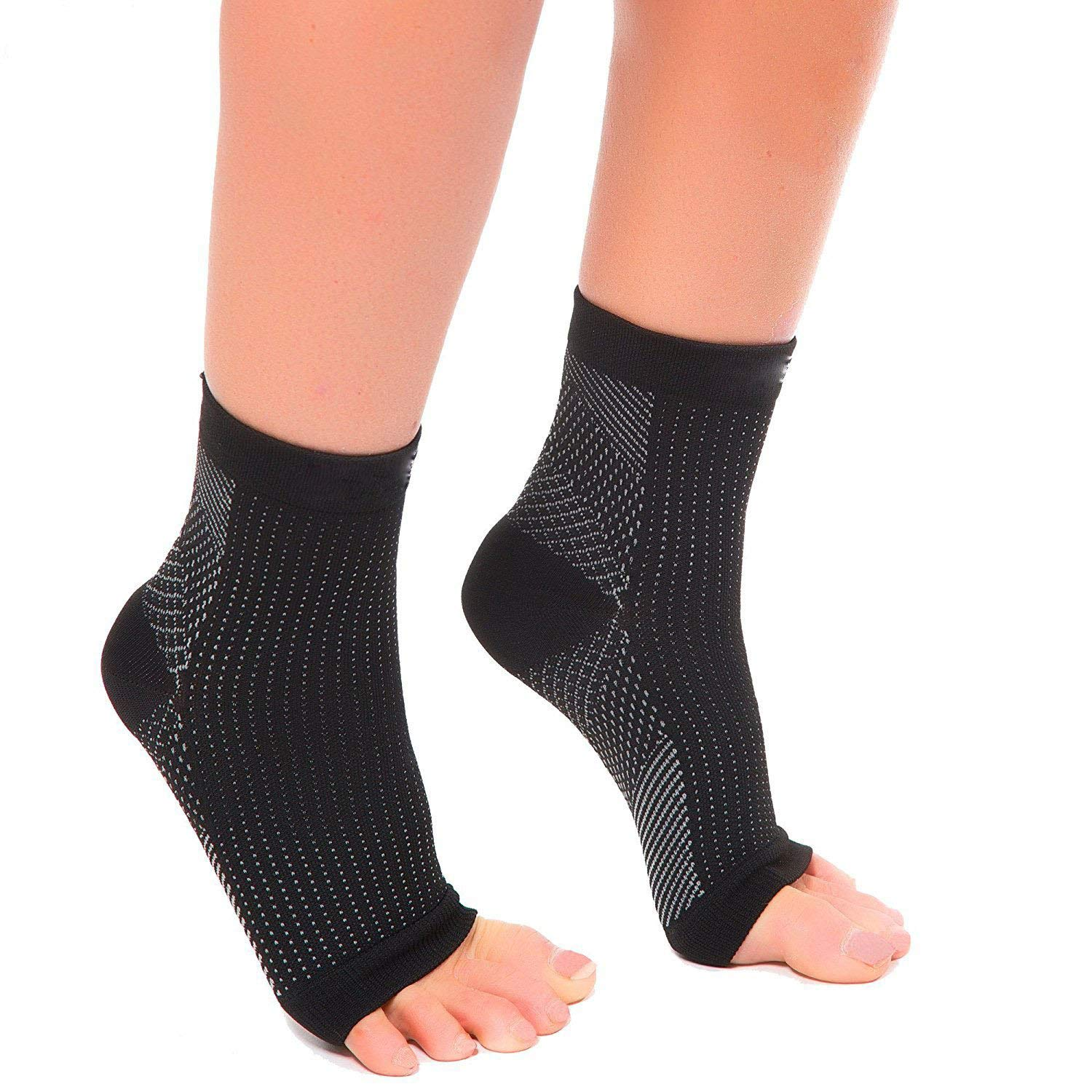 Kingkun 1 Pair Ankle Compression Socks Ankle Brace Sleeves Plantar Fasciitis Foot Socks with Arch for Injury Recovery, Joint Pain and More