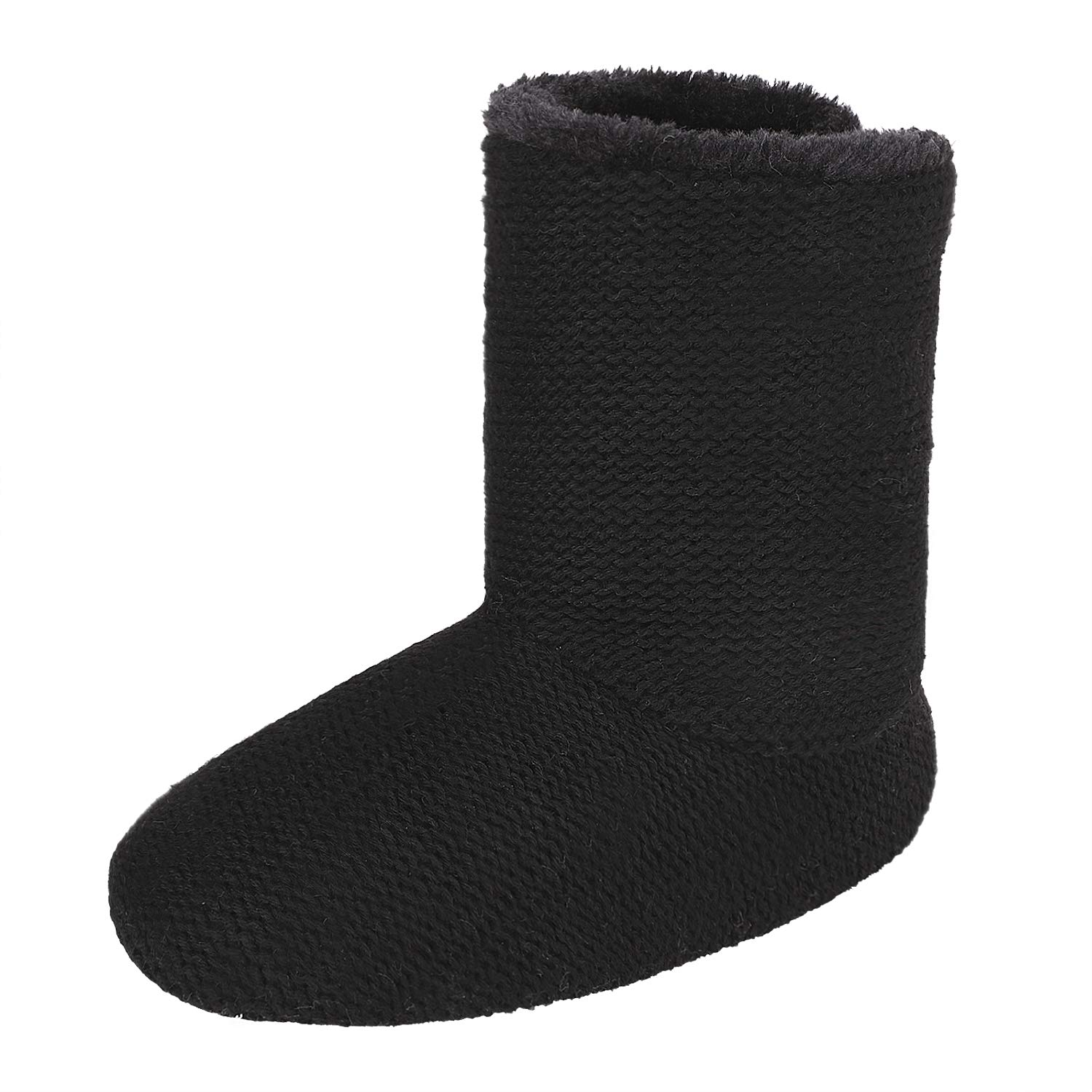 Greenery-GRE Women's Indoor Slippers Winter Warm Cotton Cable Knit Fleece Lined Ankle High Snow Boots Non-Slip Floor Socks (38-39 M EU / 7-8 B(M) US, Black Knitted)