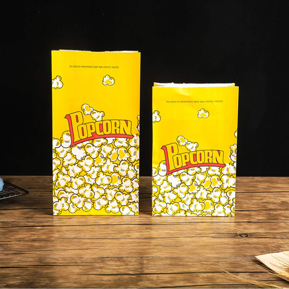 MMTX Popcorn Bags 50pcs Kraft Paper Bags Popcorn Serving Bags Flat Bottom Stand Up Snack Bags with 3 Large Assorted Color Chip Bags Clips-5.9x9.25inch