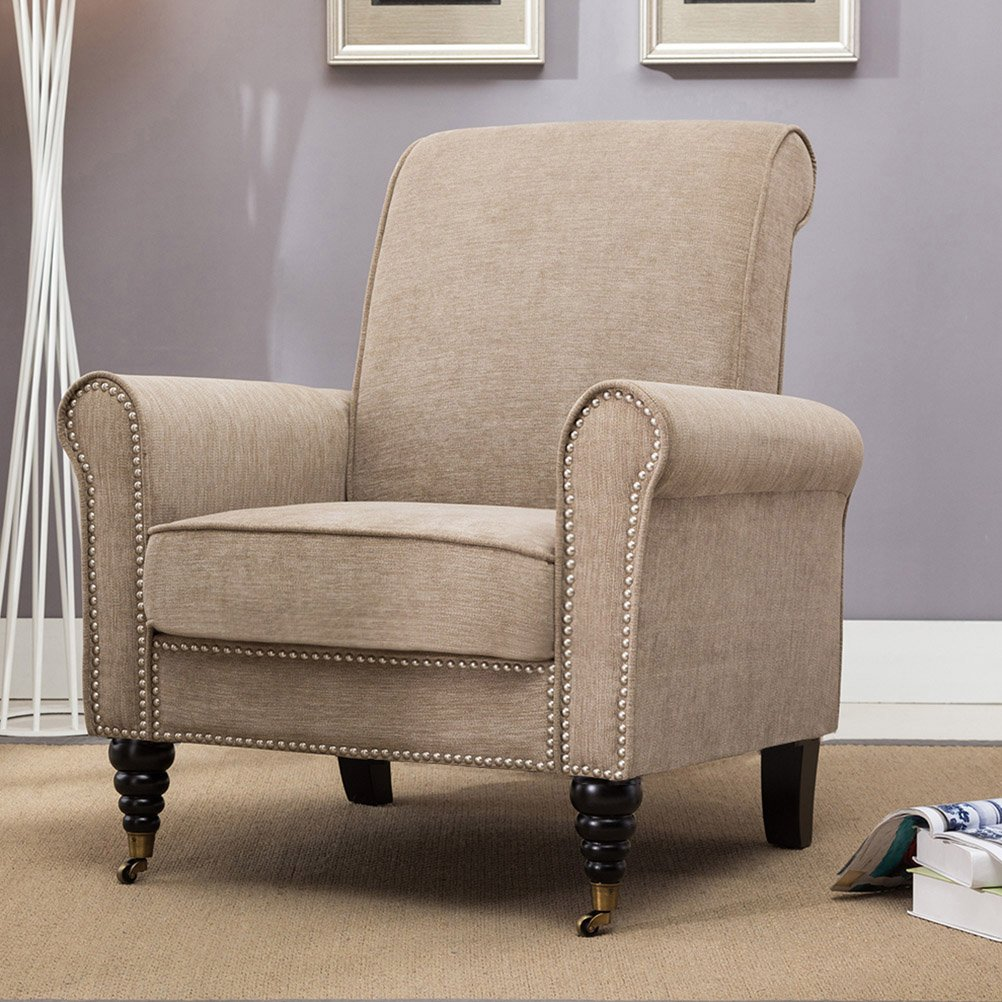 Tongli Upholstered Accent Chair With Nailheads Trim Chair for Living Room Club Fabric