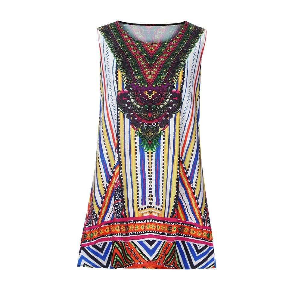 Women Dress Godathe Women Loose Summer Vintage Sleeveless 3D Floral Print Bohe Tank Short Mini Dress S-XXL at Amazon Womens Clothing store:
