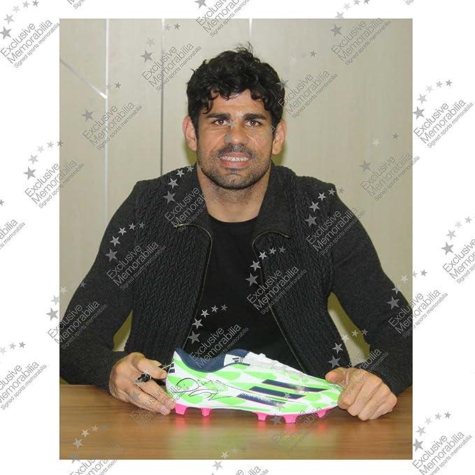Diego Costa escaparate verde Firmado Botas de fútbol: Amazon.es: Deportes y aire libre