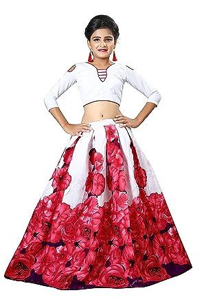 2a35af6a30f SHORYAM FASHION Pink Rose Printed Banglory Satin Semi Stitched Party Wear  Kids Lehenga Choli_12-16 Year Girls (Free Size_SF_ROZE P KIDS31):  Amazon.in: ...