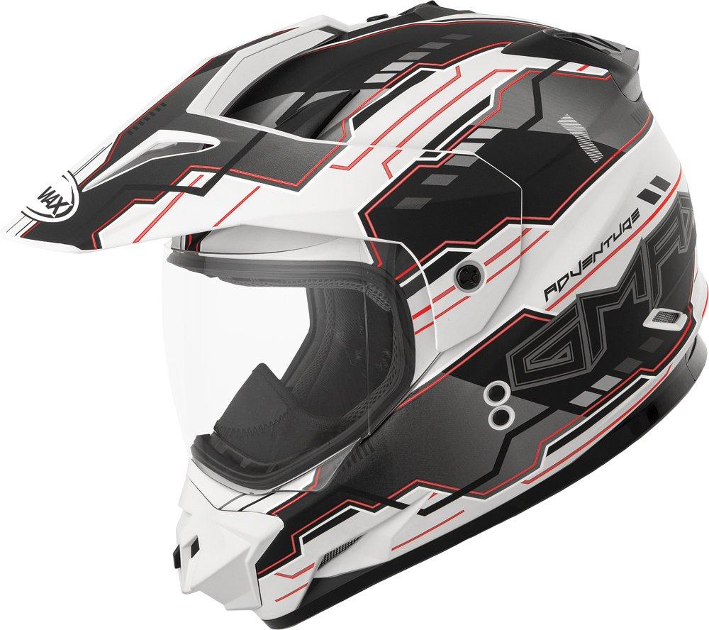 Gmax GM11D Dual Sport Adventure Full Face Helmet (Flat White/Black/Red, Small)
