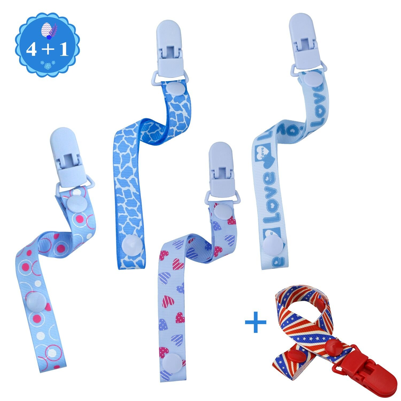 Philonext 5 paquete de chupete dentición chupete clip para bebé recién nacido (Blue)