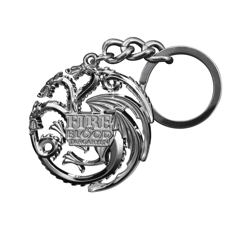 Noble Collection Trono di Spade Color Llavero Targaryen, Gris metálico XT0047