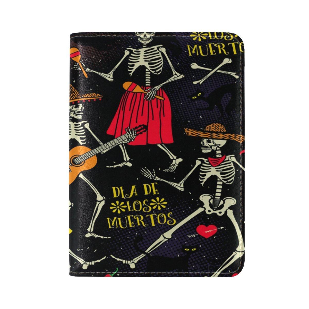 ALAZA Dia De Los Muertos Skull Guitar Cat Leather Passport Holder Cover Case Travel One Pocket