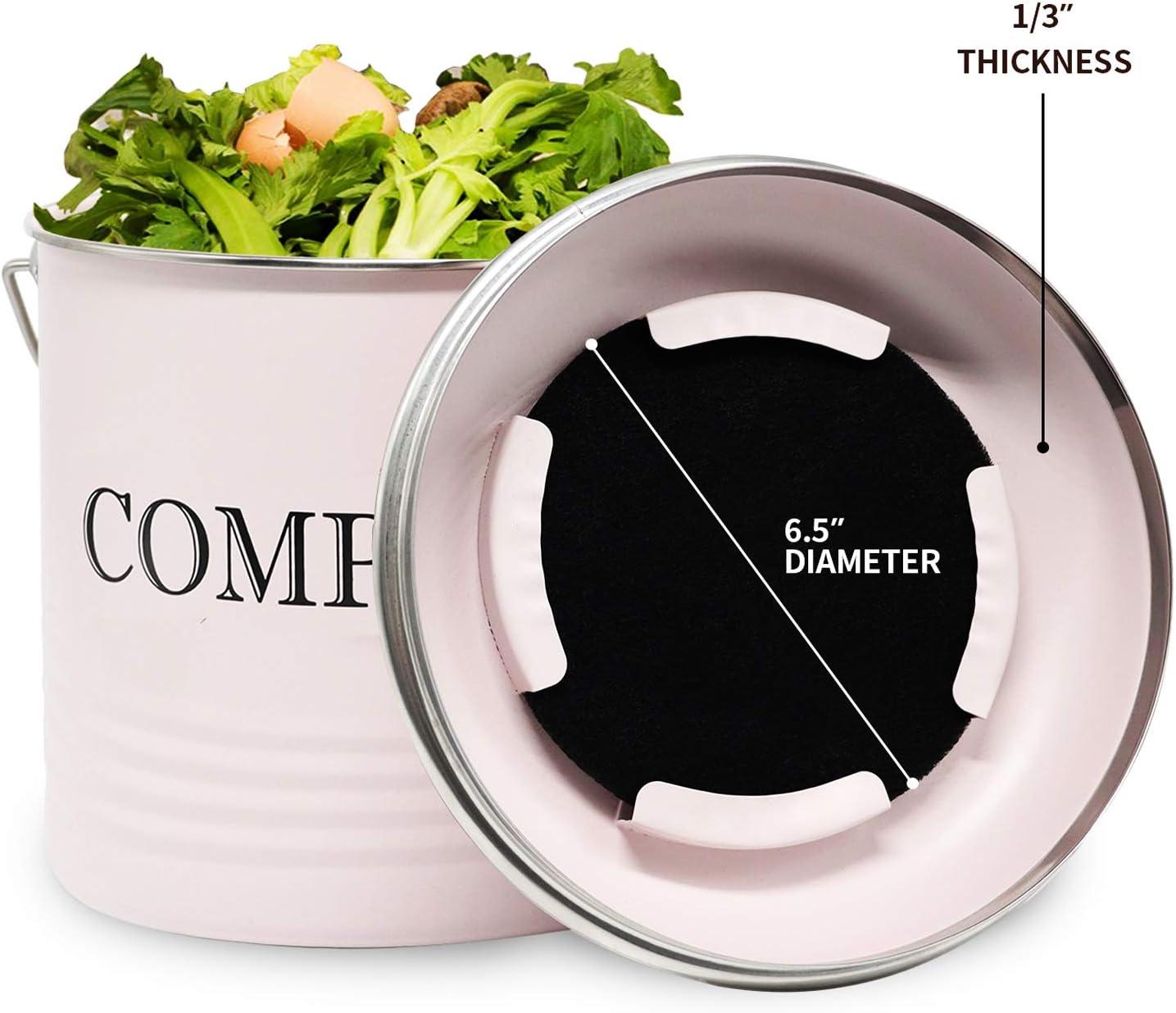Jolitac Komposteimer mit 8 Bonus-Aktivkohlefiltern Vintage Macaron Pink Recycling Abfalleimer 5 Liter Komposteimer mit Deckel f/ür den Innenbereich