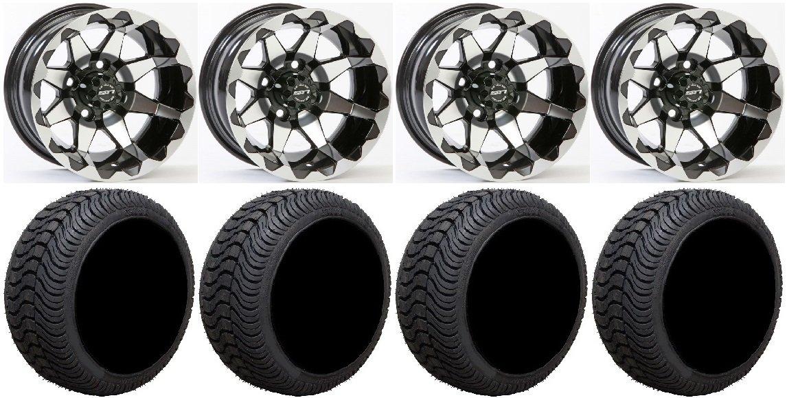 Bundle - 9 Items: STI HD6 Gloss Black Golf Wheels 10'' 205x50-10 Cruze Tires [for E-Z-GO & Club CarGolf Carts]