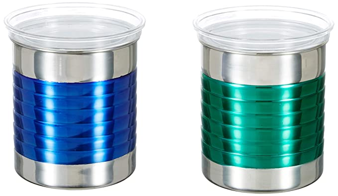 Amazon Brand - Solimo Stainless Steel Ribbed Canisters Set, Set of 2, 10 cm, Multicolor
