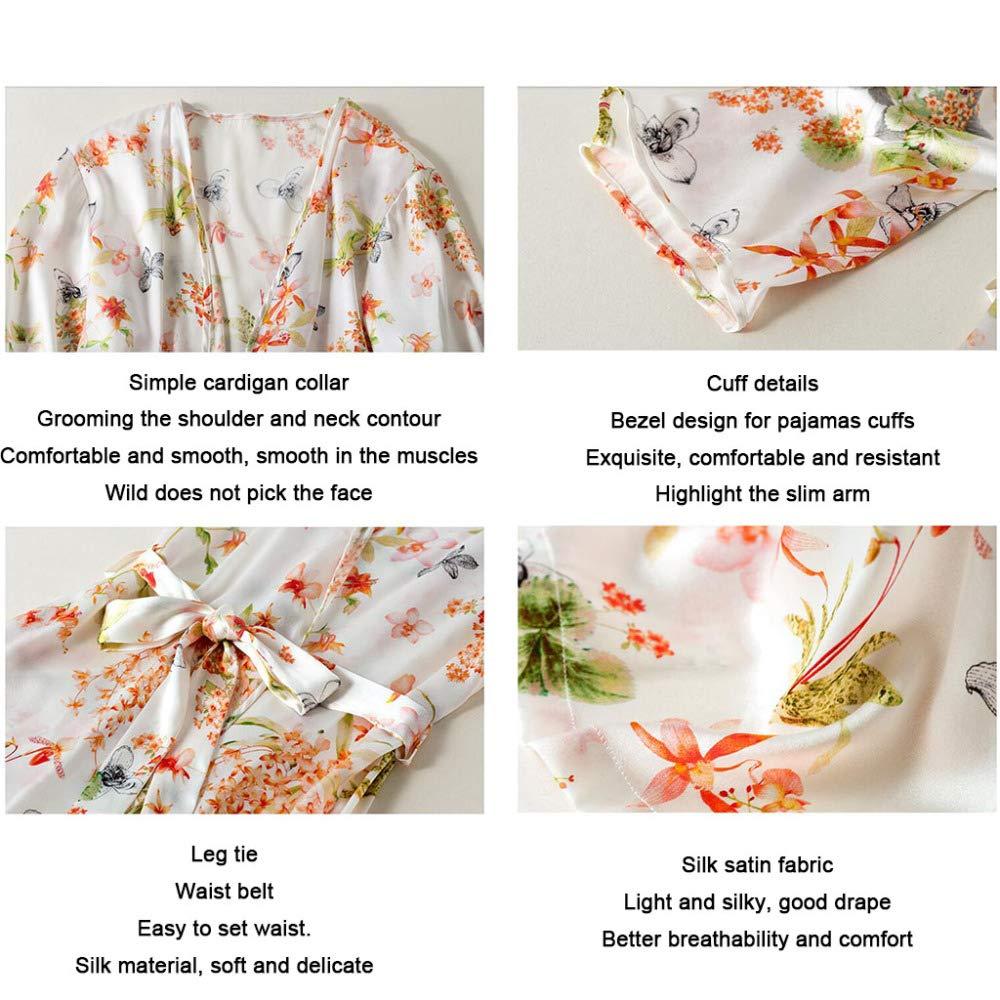 Bata De Kimono Para Mujer En Seda, Verano Bata De Fiesta Con Estampado Ultrafino Conjunto De 2 Piezas, Sección Larga Camisones De Seda De Morera Corta ...