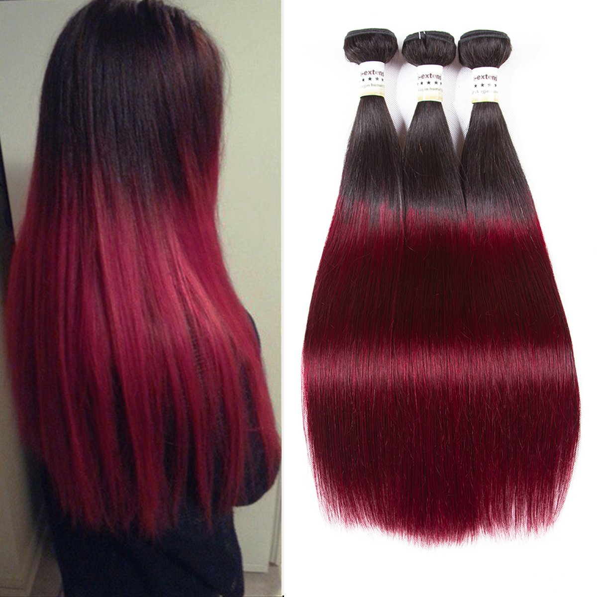 Am Extensions Red Ombre Straight Brazilian Hair 3 Bundles Hair Extensions 99j Burgundy Virgin
