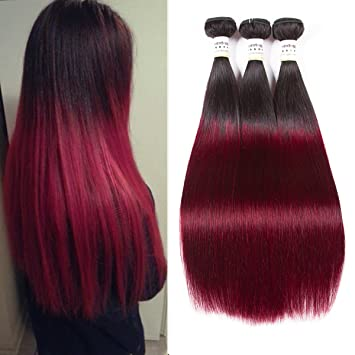 Am Extensions Red Ombre Straight Brazilian Hair 3 Bundles Hair Extensions 99j Burgundy Virgin Human Hair 10 10 10
