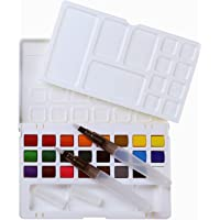 MEEDEN Travel Watercolour Set 24 Colours Field Sketch Case with 2 Water Brushes and Removable Mixing Palette for Artists, Students and Beginners