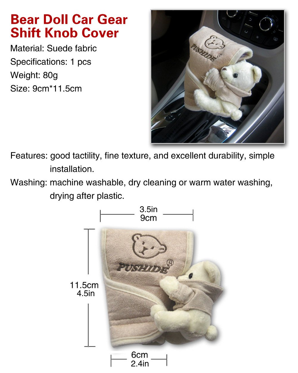 Suede - Brown Color Tianmei Cute Cartoon Bear Doll Styling Car Gear Shift Knob Cover Automobiles Accessories Ornaments