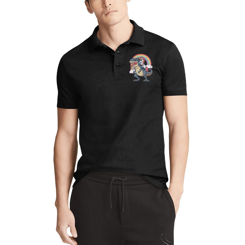 WYFEN Mens Printed Polo Shirt Unicorn Riding Dinosaur T-Rex Soft Cotton Short Sleeve Tshirts