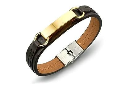 Herren Leder Armband Geflochten Edelstahl Schließe Armreif Armkette Schmuck Mode