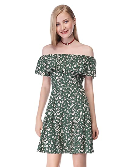 17b63960b0 Alisa Pan Womens Short Off Shoulder A-Line Floral Print Summer Dress 4 US  Green