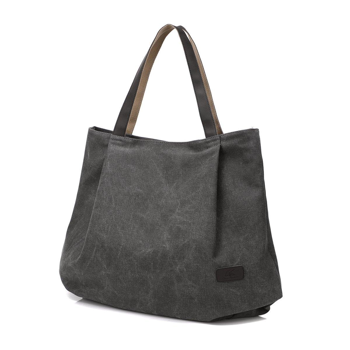 Qflmy Retro Hobo Style Qflmy Women's Canvas Casual Handbag Shoulder Bag Messenger Bag (Gray)
